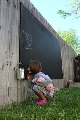 A chalkboard in a kid friendly backyard