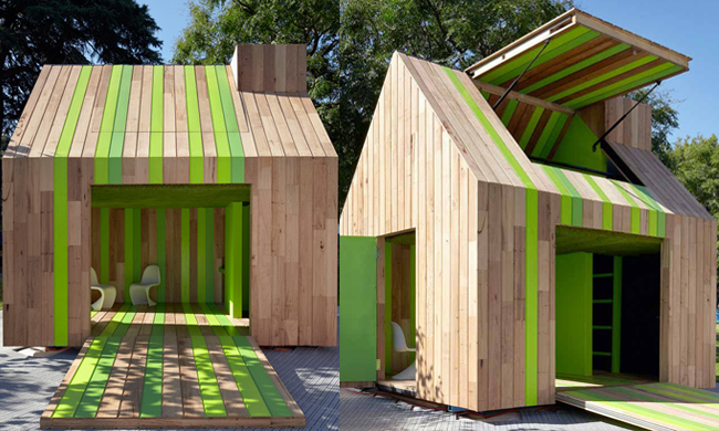 A designer cubby house in a kid friendly backyard